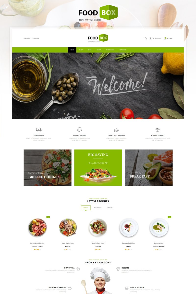 """Food Box - Restaurant Store"" 响应式WooCommerce模板 #83205"