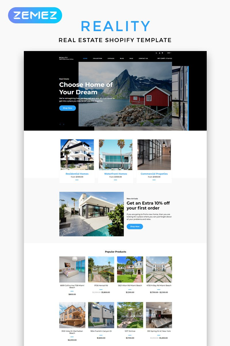 Responsivt Reality - Real Estate Multipage Clean Shopify-tema #83215