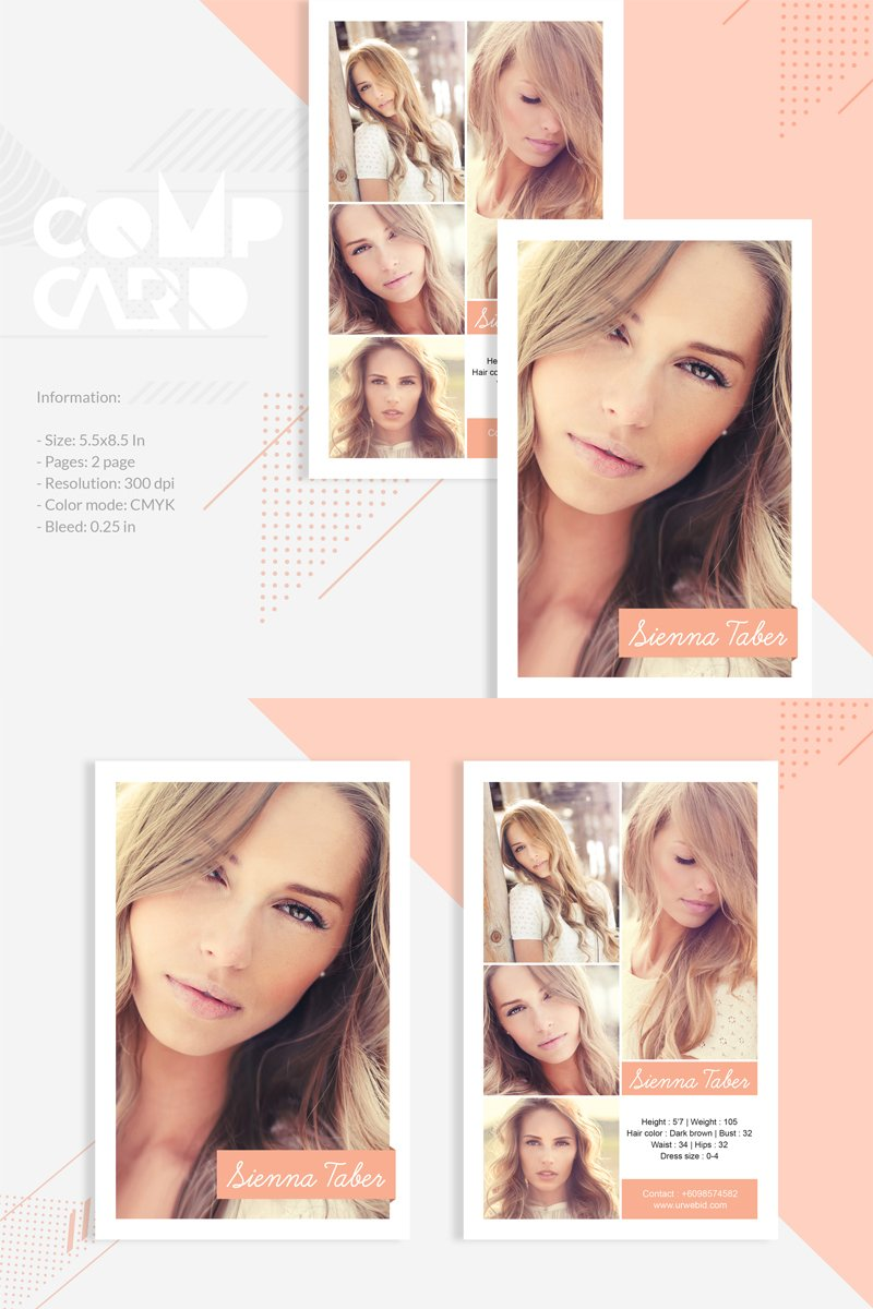 Sienna Taber - Modeling Comp Card Corporate Identity Template - screenshot