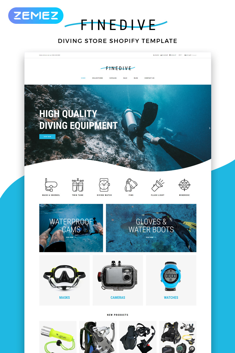 """Tema Shopify Responsive #83214 """"Finedive - Diving eCommerce Clean"""""""