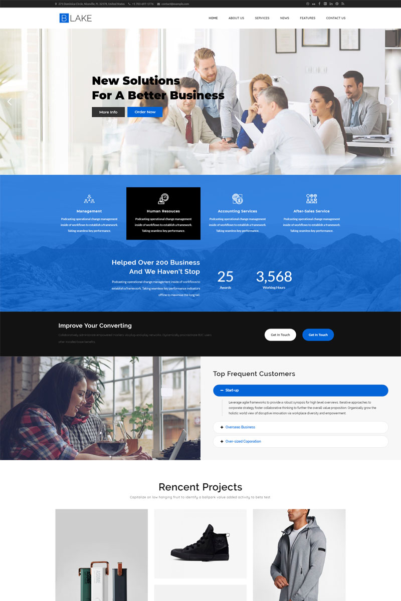 "Tema WordPress Responsive #83235 ""Blake Business Services"" - screenshot"