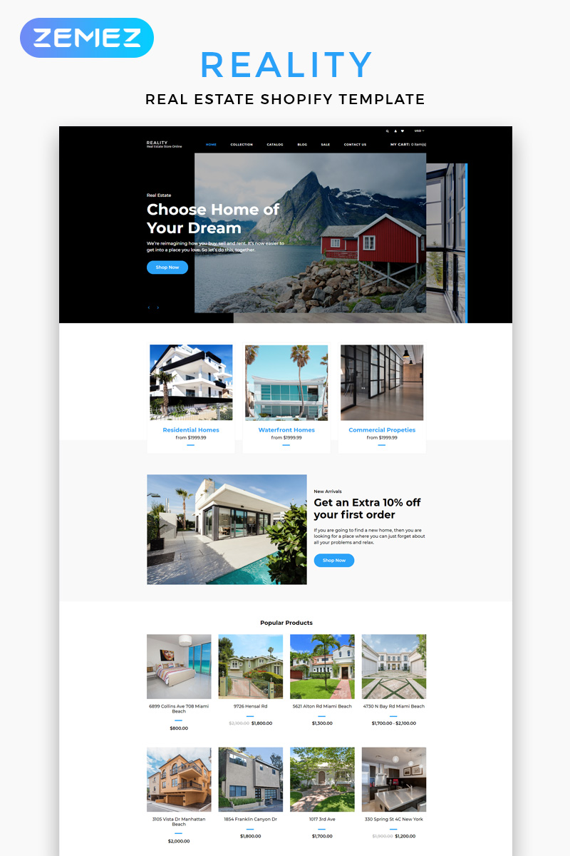 "Template Shopify Responsive #83215 ""Reality - Real Estate Multipage Clean"""