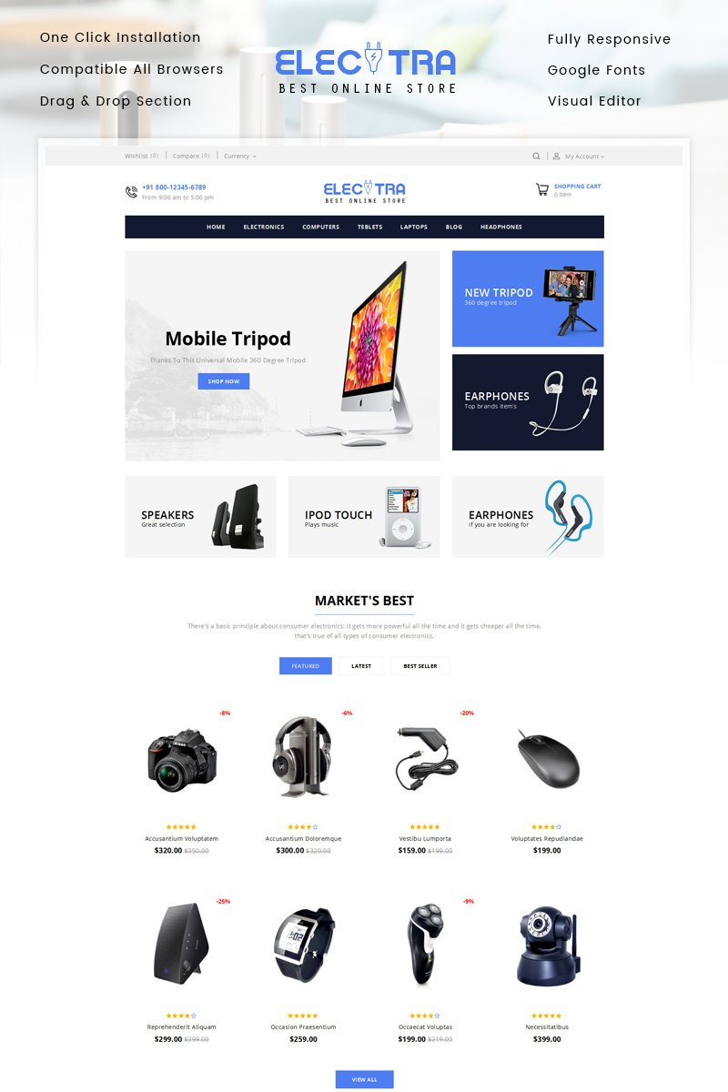"""Template Shopify Responsive #83224 """"Electra - Electronics Store"""""""