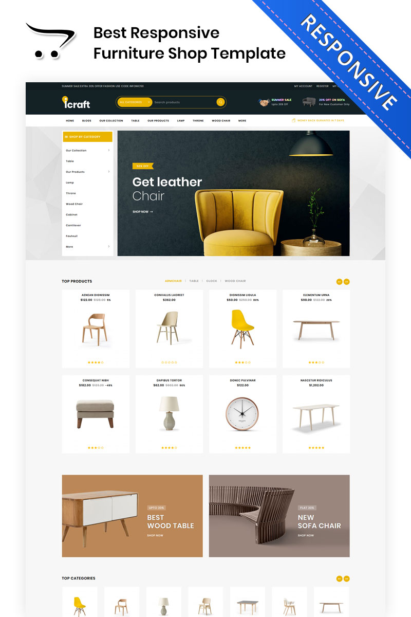 "Bootstrap OpenCart šablona ""Icraft - The Premium Furniture"" #83335"