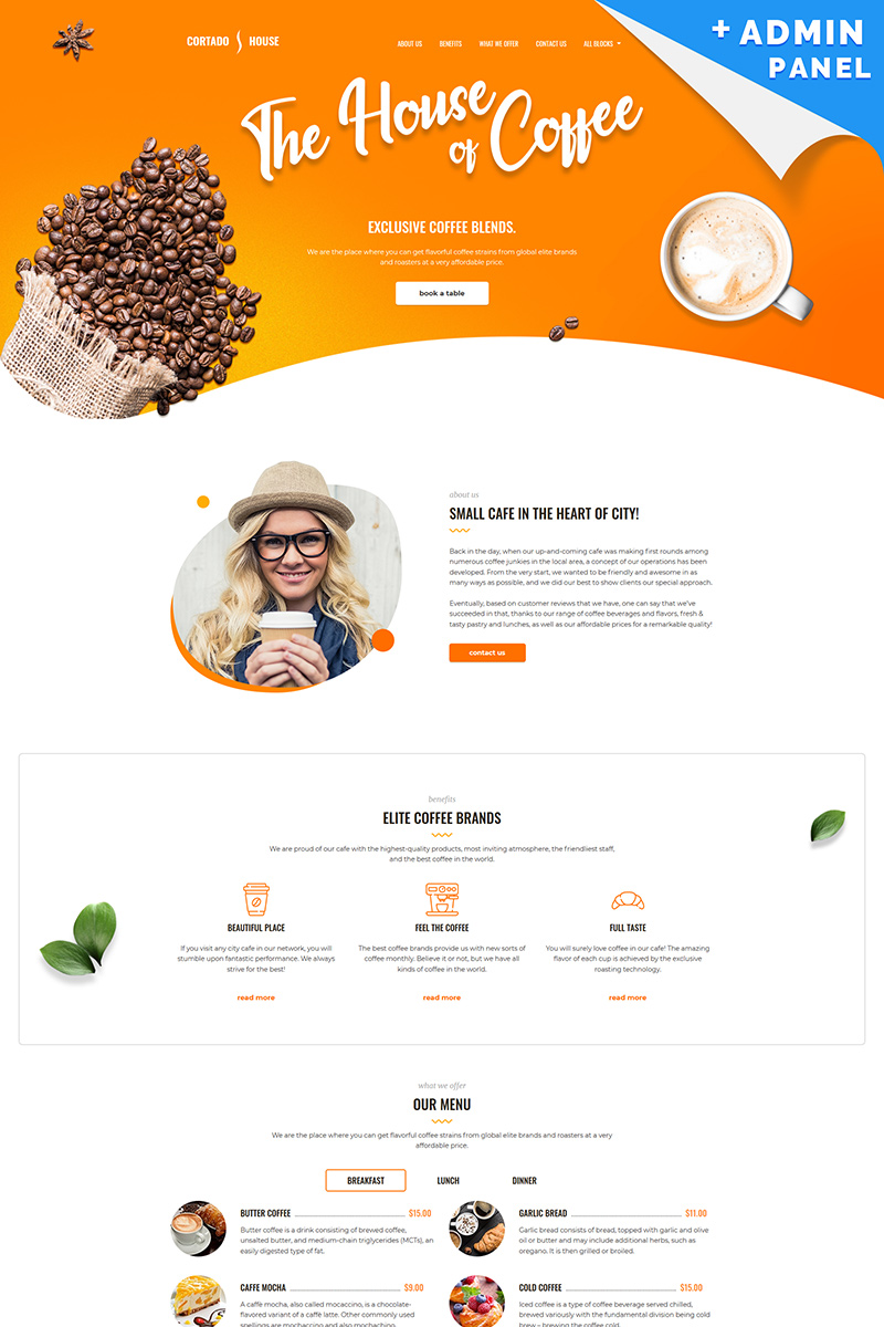 Cortado House - Cafe Landing Page Template