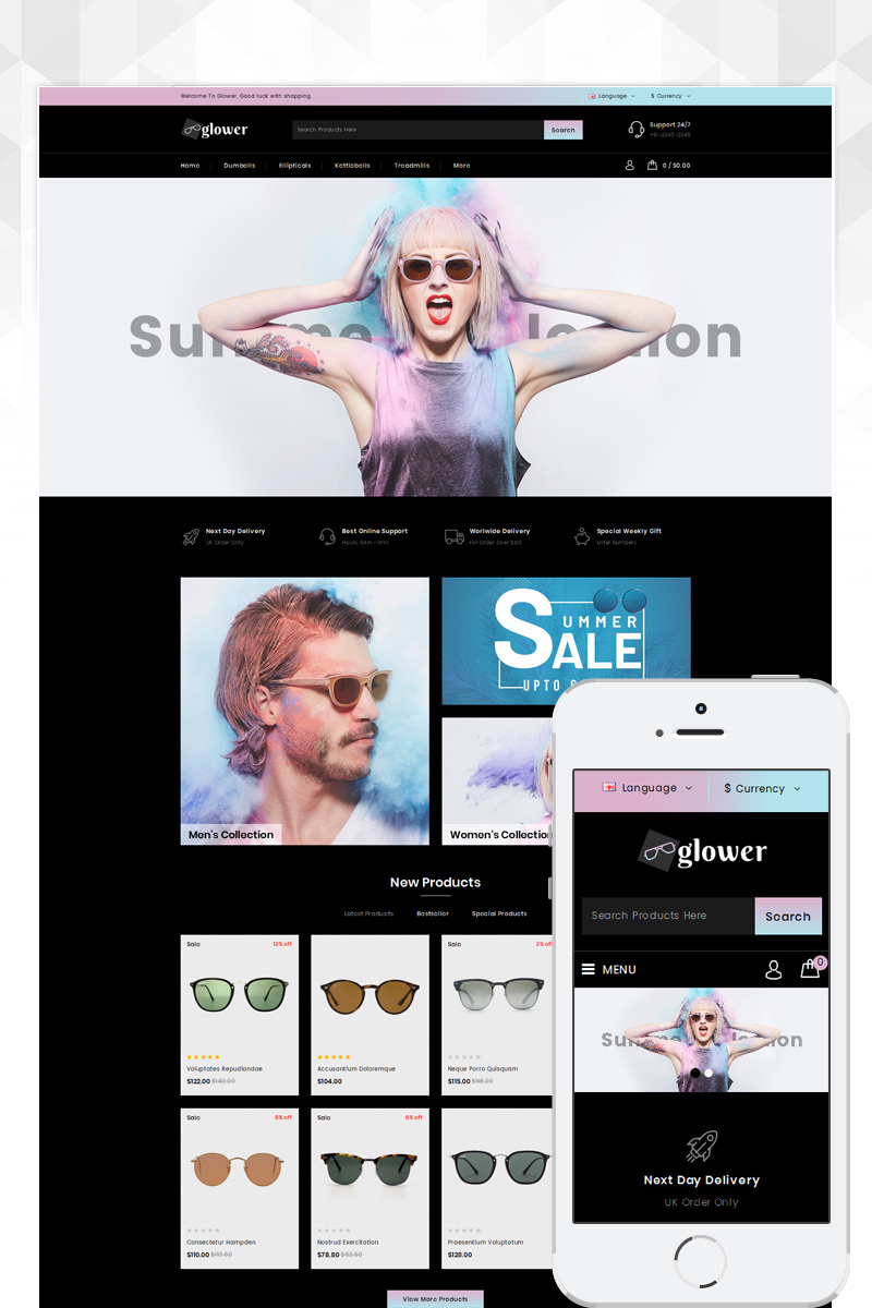 Glower - Goggles Store Template OpenCart №83337 - screenshot