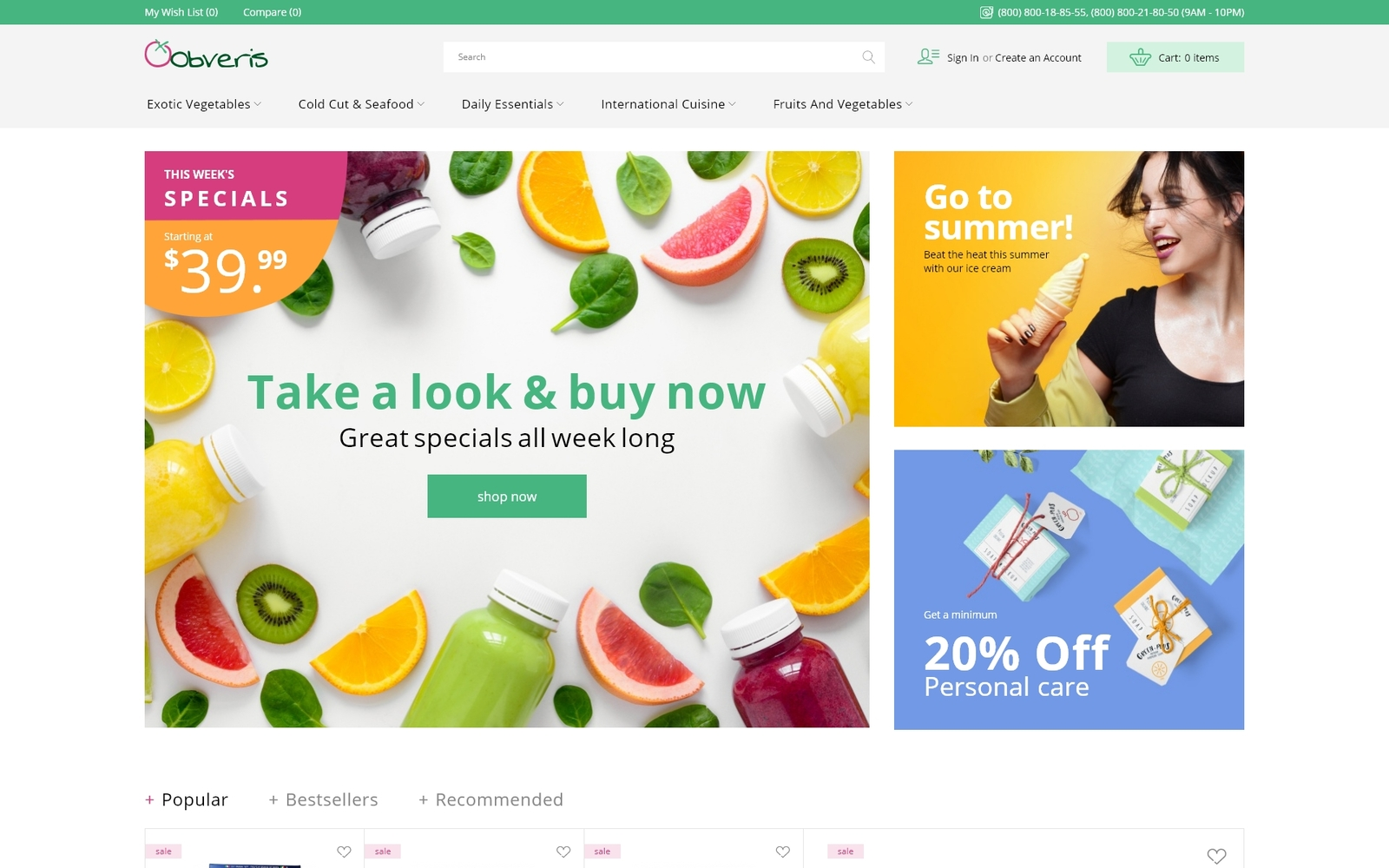 Obveris - Clean Grocery eCommerce Store Magento Theme
