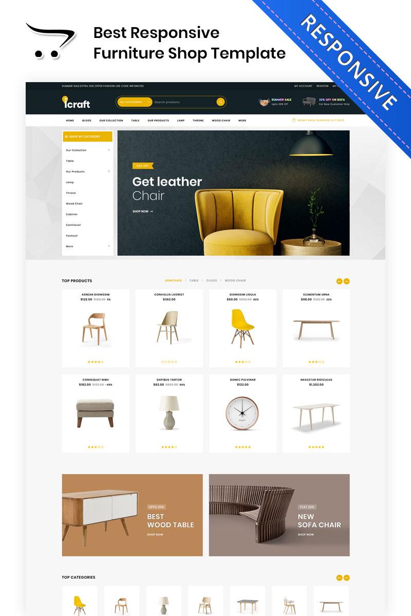 """Plantilla OpenCart """"Icraft - The Premium Furniture"""" #83335"""