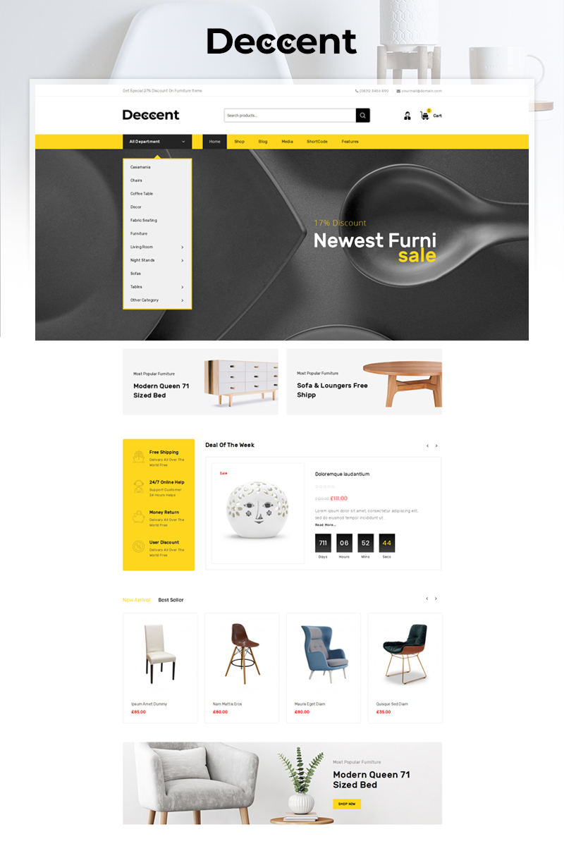 Responsywny motyw WooCommerce Deccent Furniture Store #83383