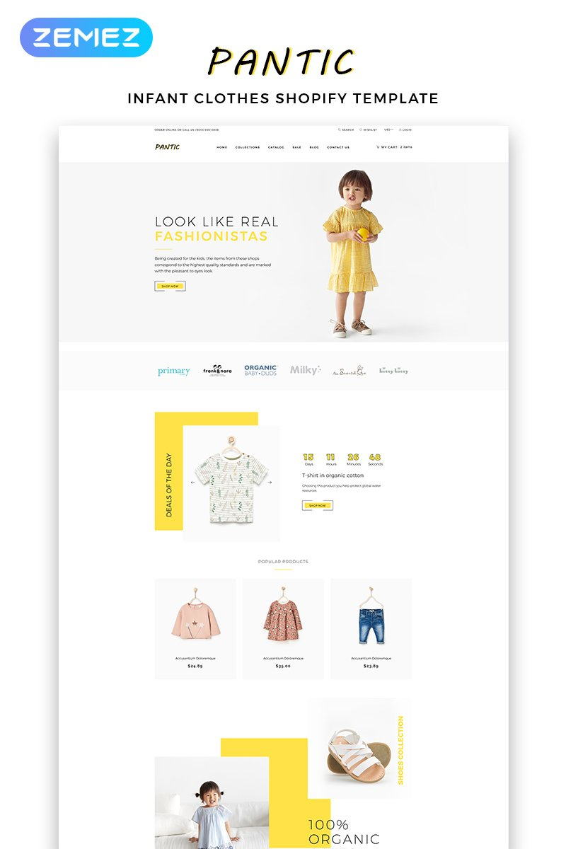 "Responzivní Shopify motiv ""Pantic - Kids Fashion Clean"" #83374"