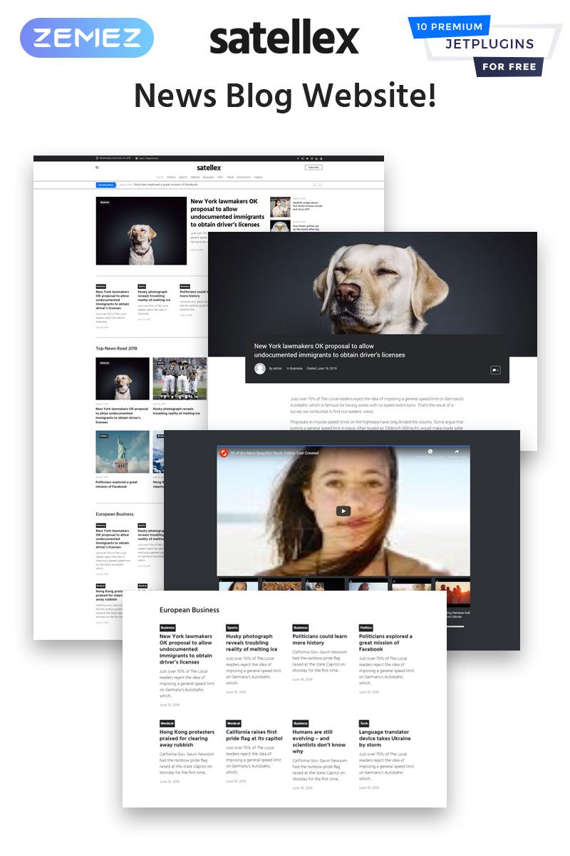 """Satellex - News Blog Multipurpose Classic"" 响应式WordPress模板 #83334 - 截图"