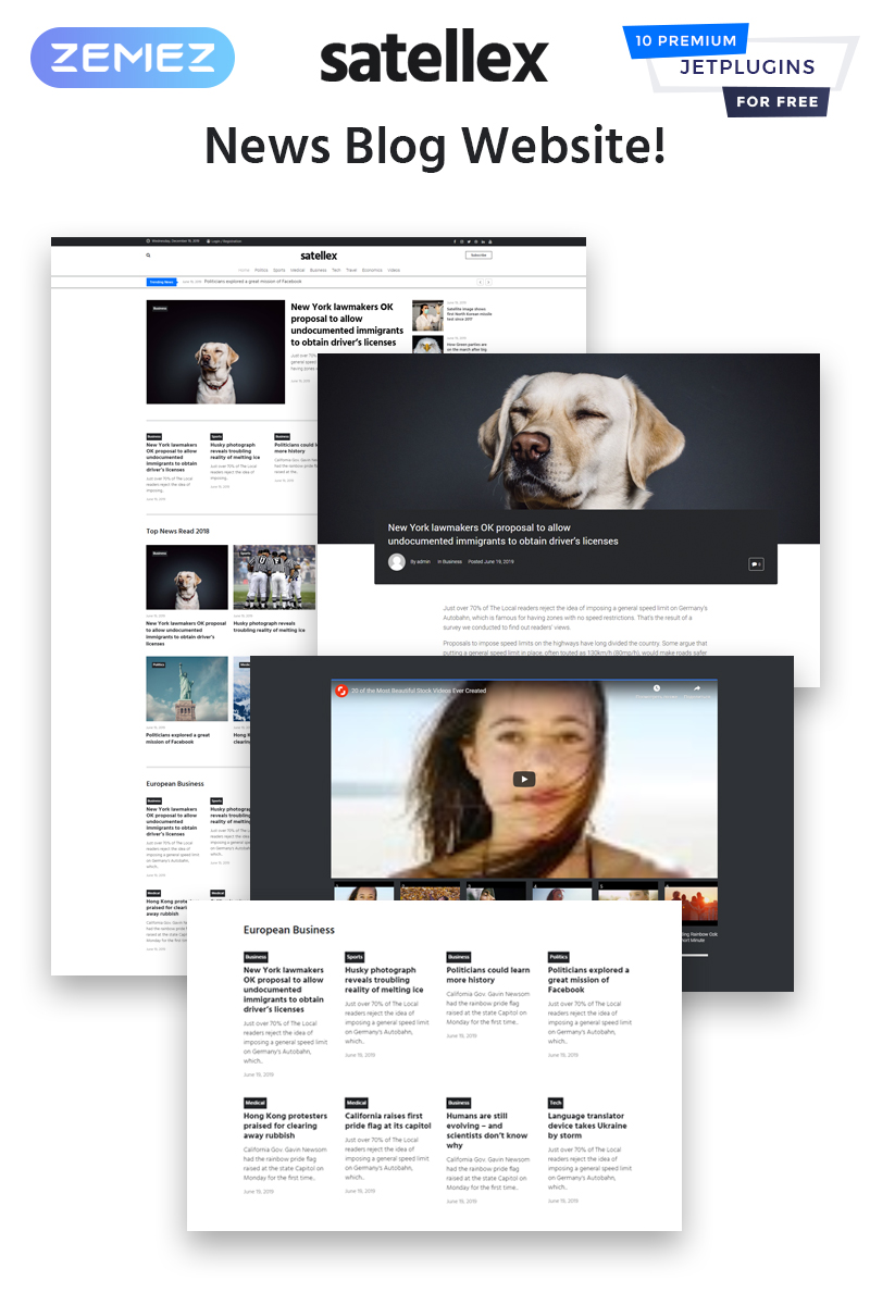 "Tema WordPress Responsive #83334 ""Satellex - News Blog Multipurpose Classic"" - screenshot"