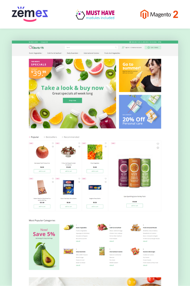"Template Magento Responsive #83332 ""Obveris - Clean Grocery eCommerce Store"""