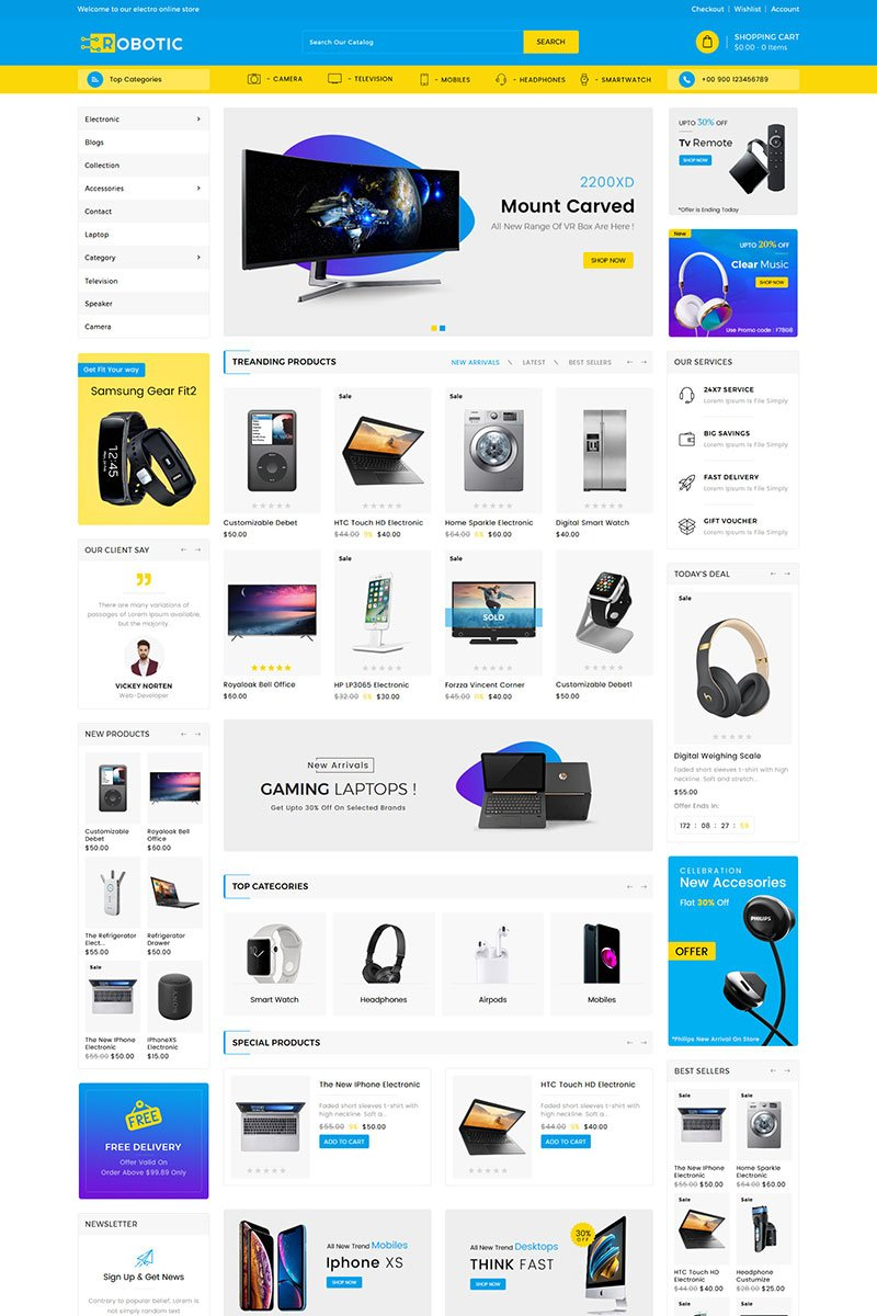 """Template Shopify Responsive #83359 """"Robotics Electronics Sectioned"""""""