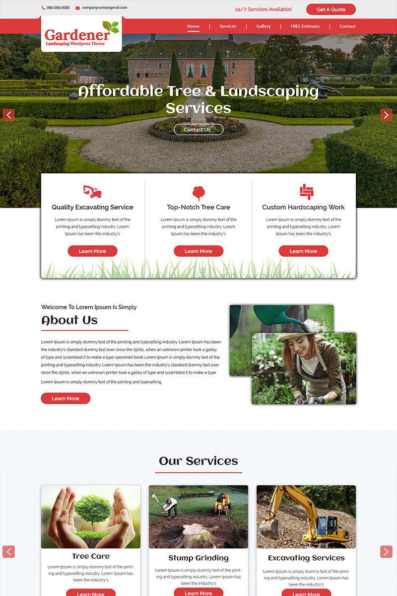 Gardener - Landscaping Services PSD Template