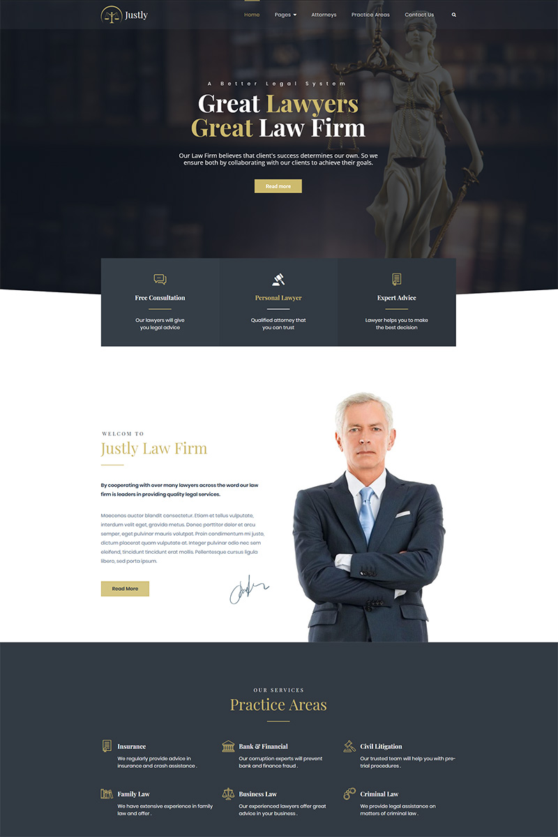 """Justly - Lawyer and Attorney"" Bootstrap WordPress thema №83482 - screenshot"