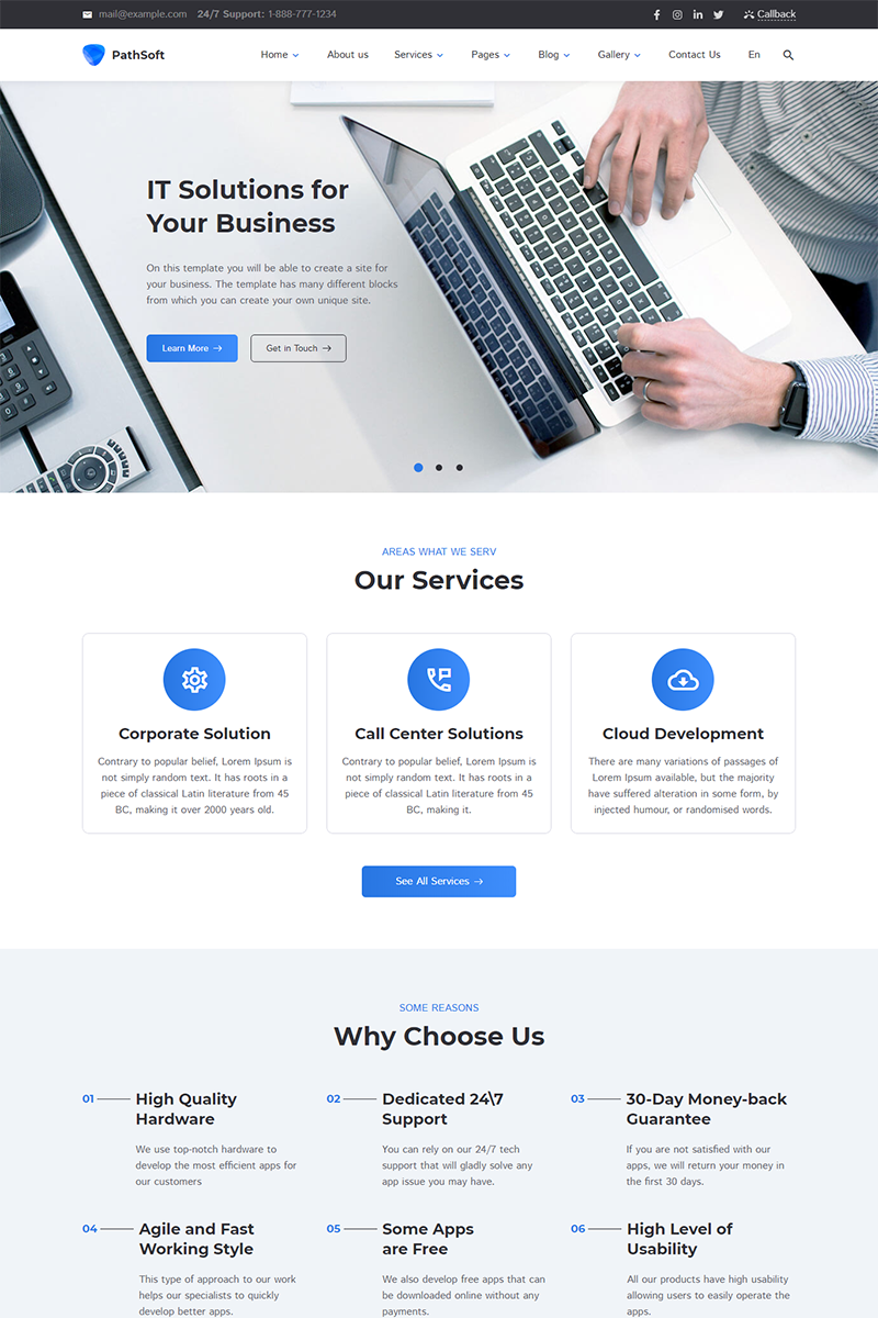"""""""PathSoft - IT Solutions for Your Business Services"""" Responsive Website template №83414"""