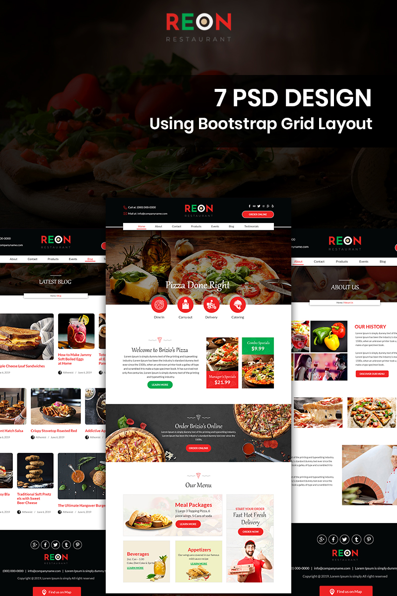 Reon - Pizza PSD Template