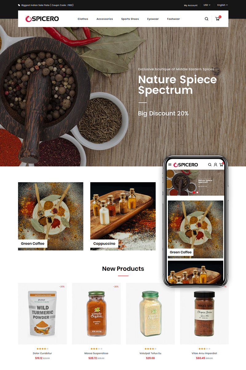 """Spicero - Grocery Store"" - адаптивний PrestaShop шаблон №83438"