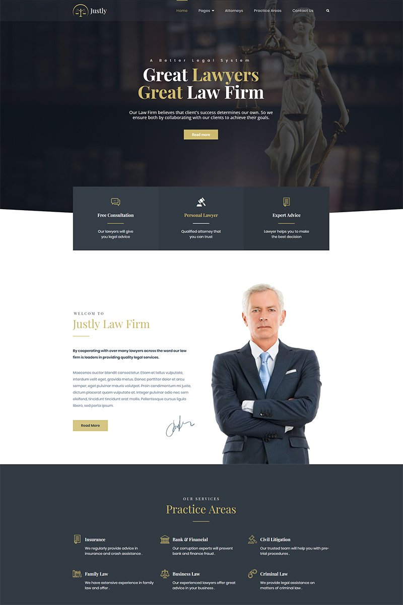 "Tema De WordPress ""Justly - Lawyer and Attorney"" #83482 - captura de pantalla"