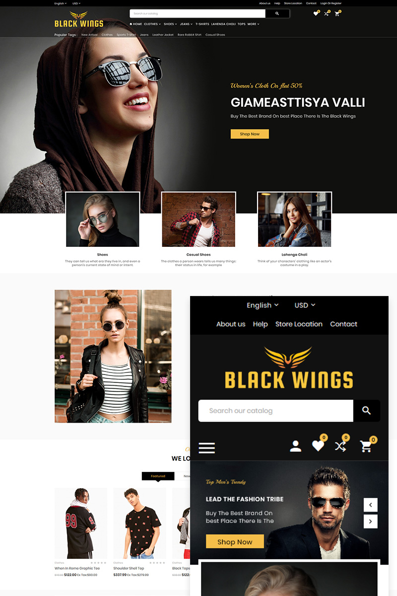 """Black Wings Fashion Multipurpose Store"" 响应式OpenCart模板 #83592"