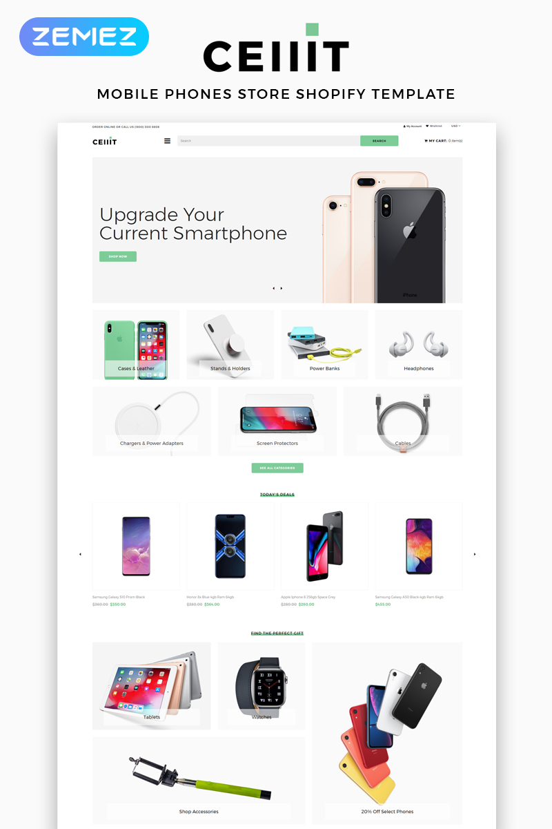 """""""Cellit - Mobile Store Multipage Clean"""" Responsive Shopify Thema №83525"""
