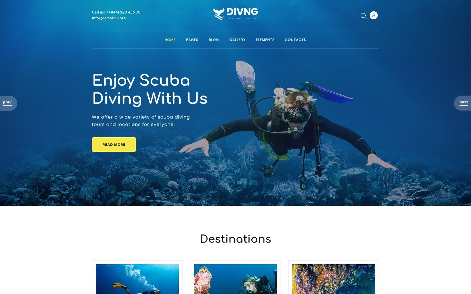 """Divng - Diving Responsive Modern"" Responsive Joomla Template №83528"