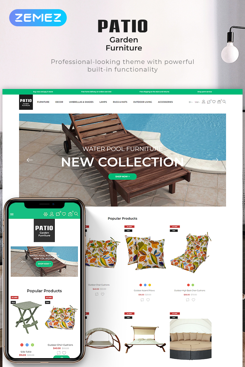 """Patio-Garden Furniture Store Ecommerce Bootstrap Clean"" PrestaShop Thema №83536"