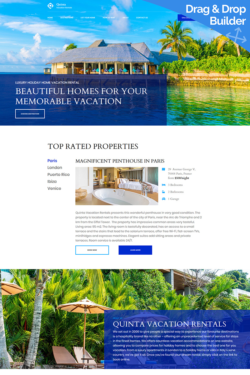 Quinta - Vacation Rental Moto CMS 3 Template