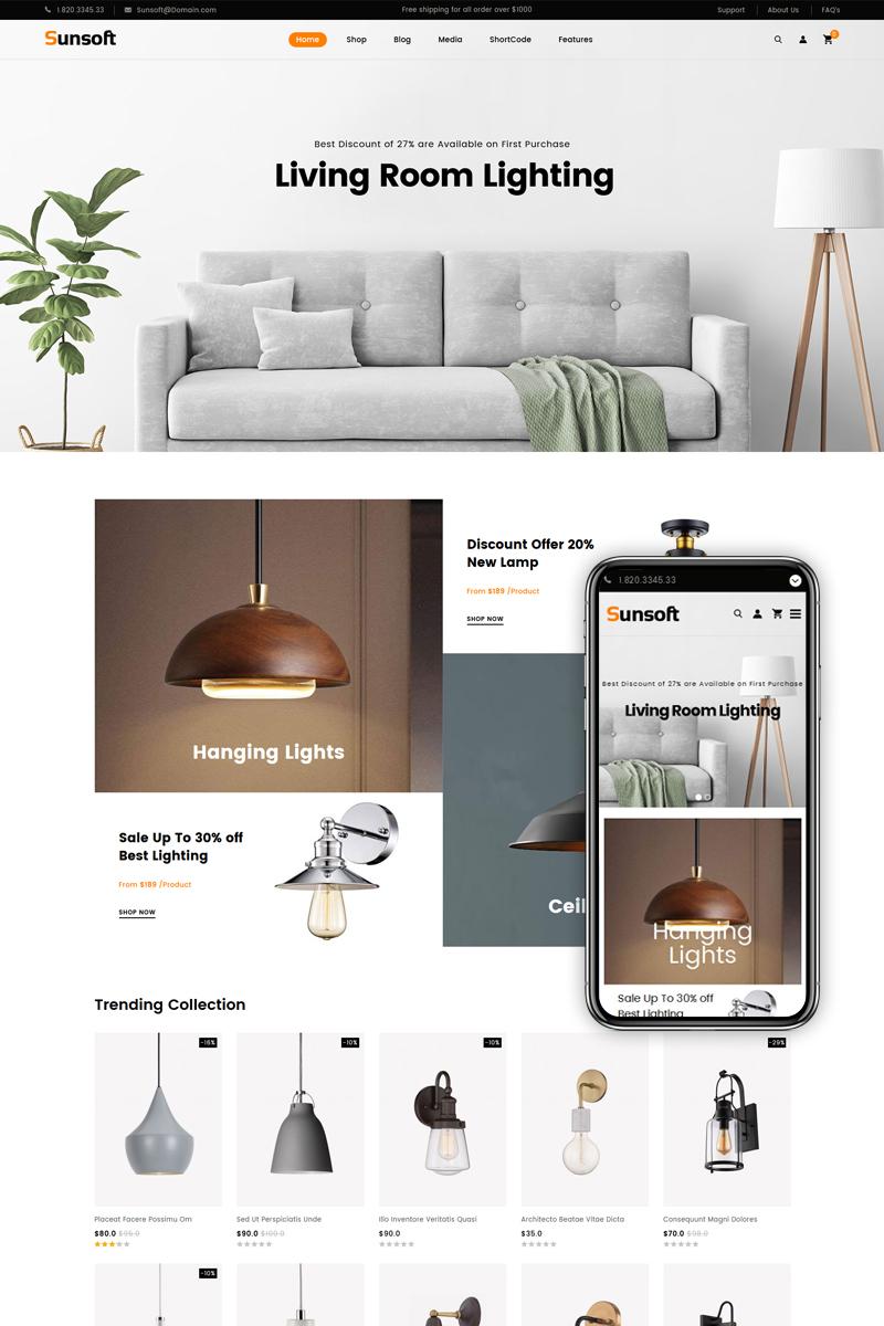 Responsywny motyw WooCommerce Sunsoft - Lighting Store #83570