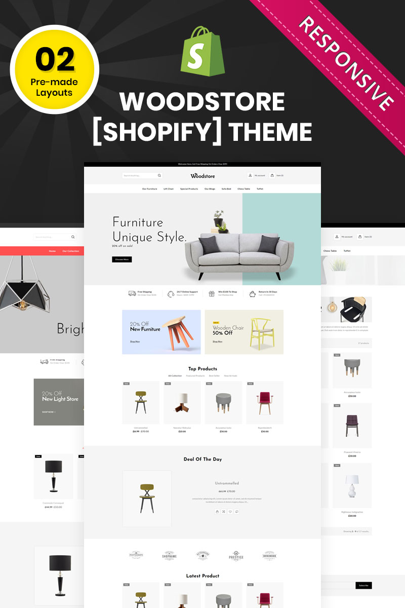 Reszponzív Wood Store - The Multipurpose Responsive Shopify sablon 83565