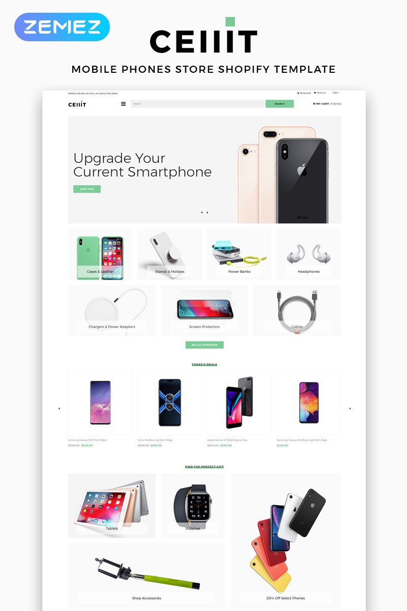 """Shopify Theme namens """"Cellit - Mobile Store Multipage Clean"""" #83525"""