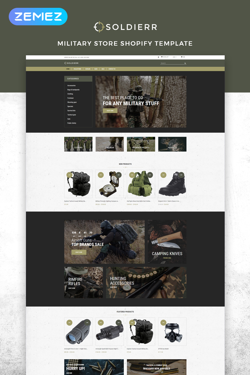 """""""Soldierr - Military Multipage Clean"""" Responsive Shopify Thema №83529"""