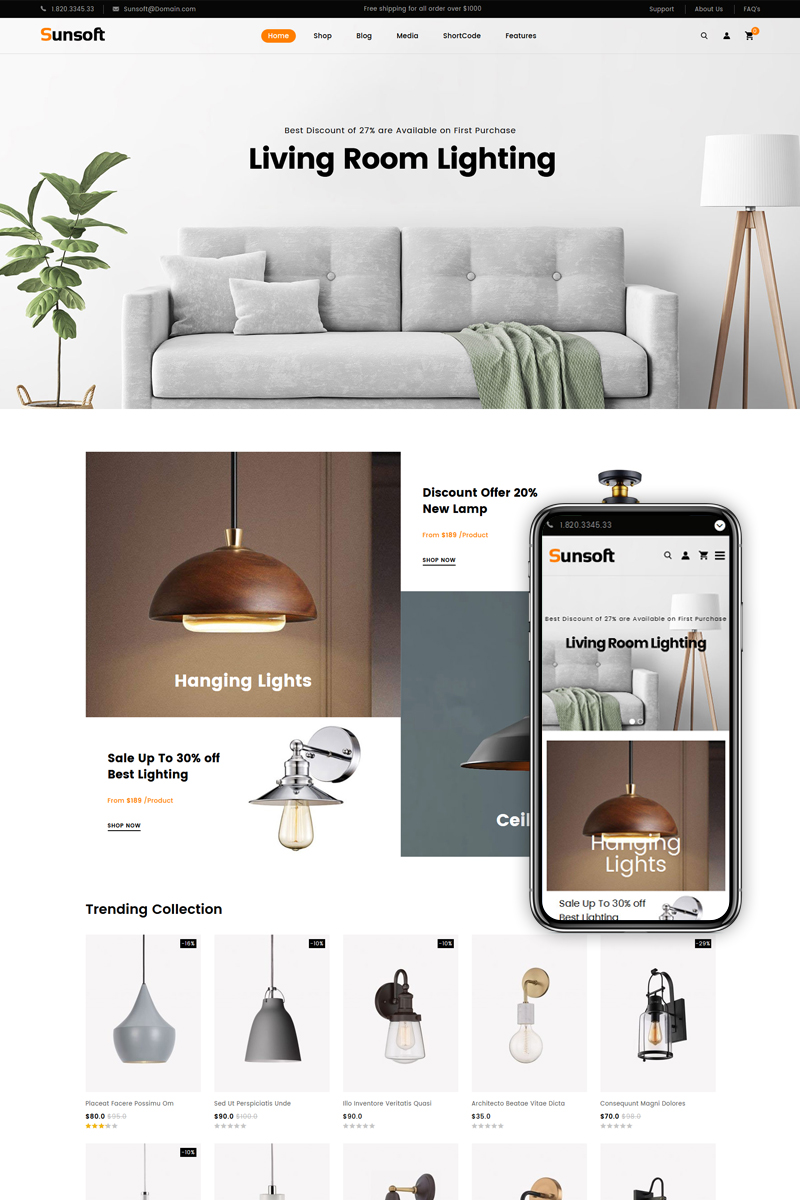 """Tema WooCommerce """"Sunsoft - Lighting Store"""" #83570"""
