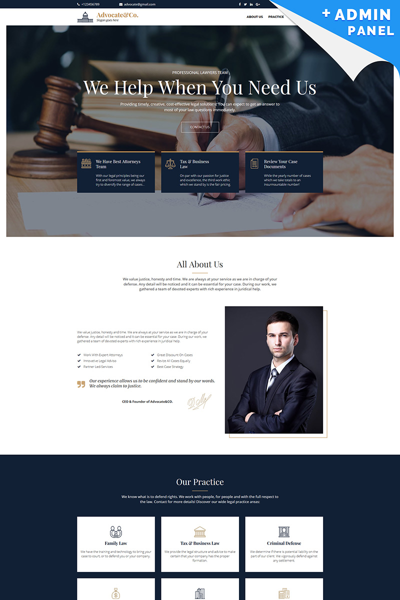 Advocate&Co - Lawyer Landing Page Template