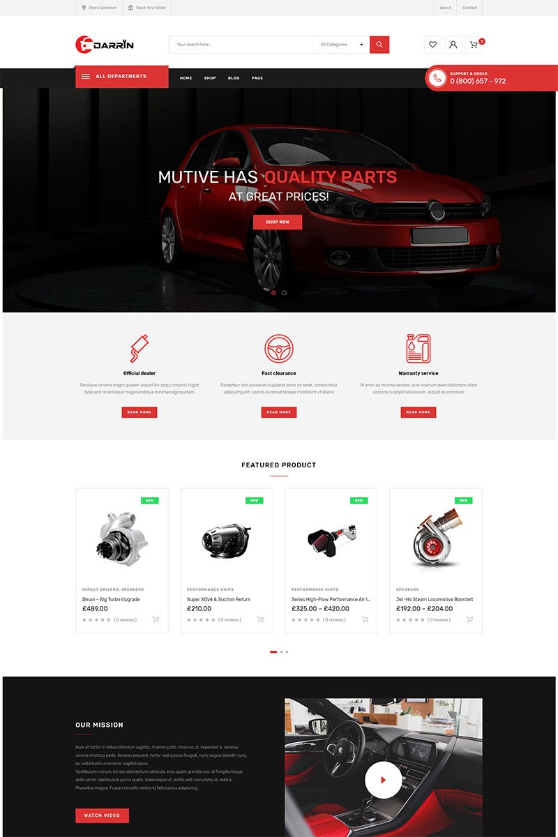 """Darrin - Auto Parts Shop"" Responsive WooCommerce Thema №83631"