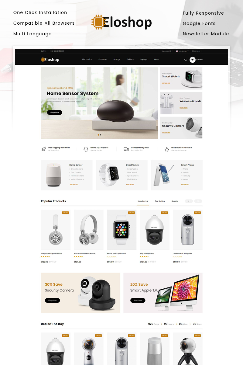 """Eloshop - Electronics Shop"" - OpenCart шаблон №83649"