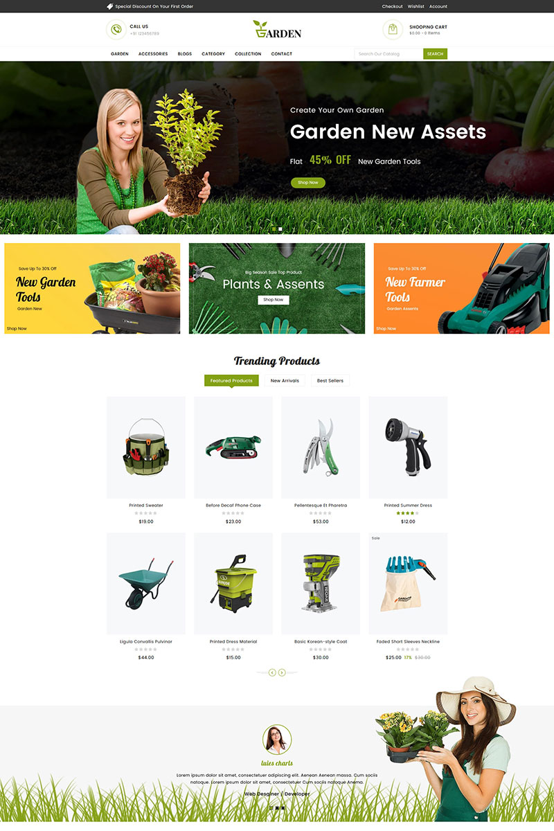 """""""Garden Tools Sectioned"""" thème Shopify adaptatif #83648"""