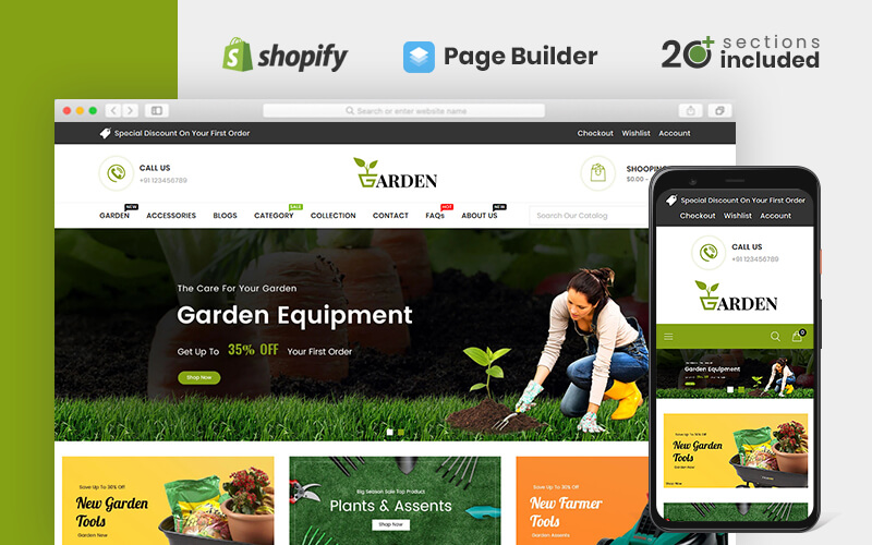 """""""Garden Tools Store"""" Responsive Shopify Thema №83648"""