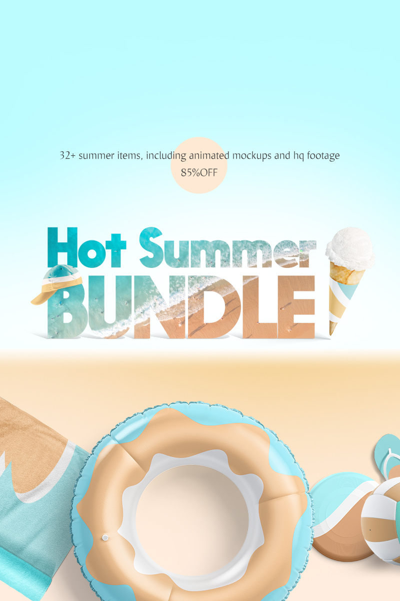 "Modello Mockup del prodotto #83606 ""Hot Summer Mockups Bundle"" - screenshot"