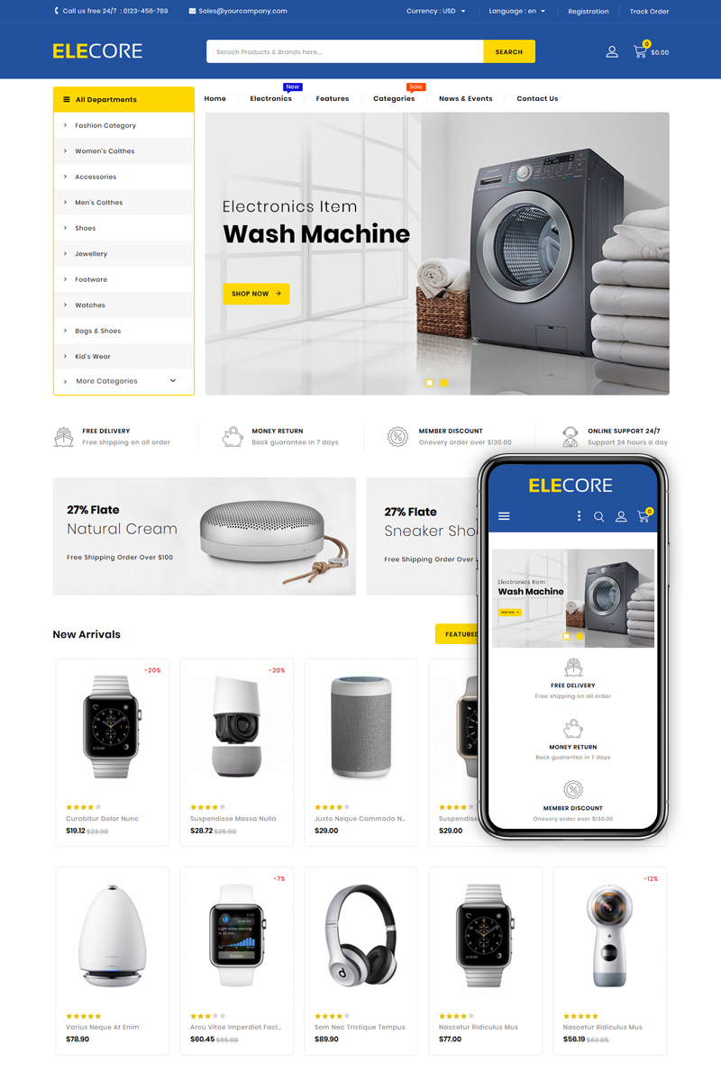"Tema PrestaShop Responsive #83670 ""Elecore - Electronics Store"""