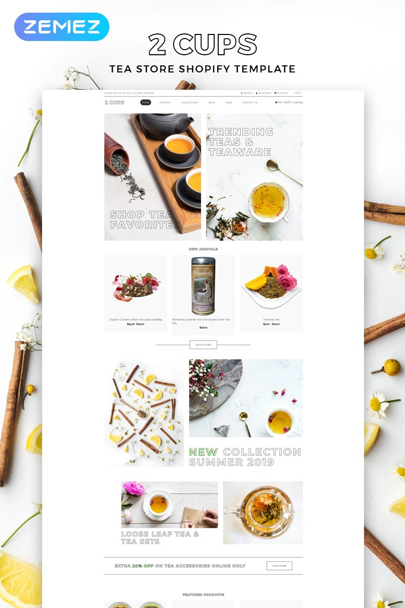 2 Cups - Tea Store Multipage Bright Shopify Theme