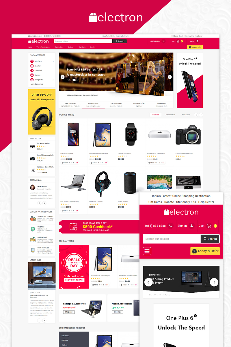 """Electron Electronic"" OpenCart Template №83777"