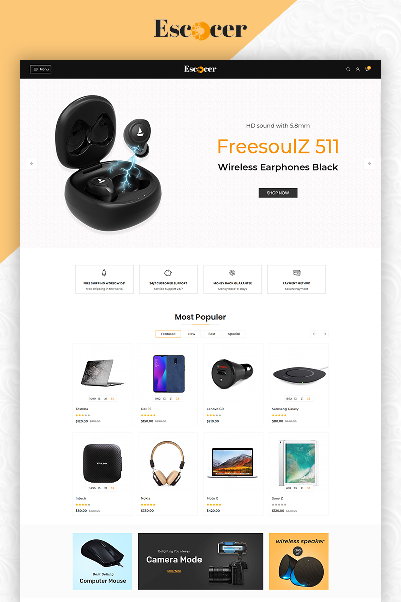Escocer Electronics OpenCart Template
