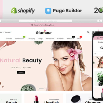 Glamour Cosmetics Store Shopify Theme #83769