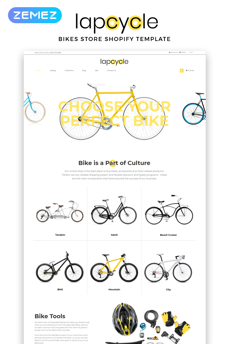 """""""Lapcycle - Cycling Multipage Clean"""" - адаптивний Shopify шаблон №83713"""