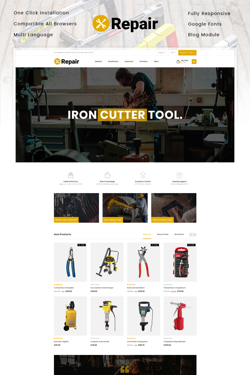 Repair Tools Store PrestaShop Theme