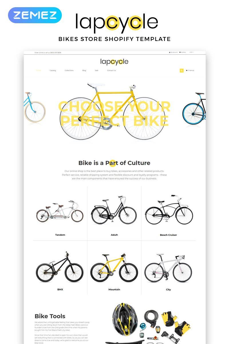 Responsive Lapcycle - Cycling Multipage Clean Shopify #83713