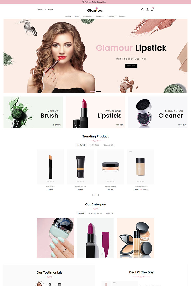 Responsivt Glamour Cosmetics Shopify-tema #83769
