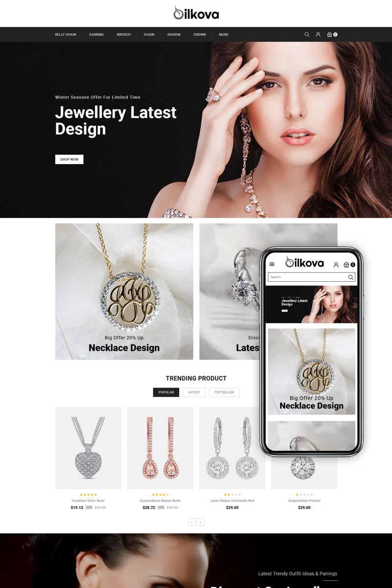 """""""Silkova - Jewelry Store"""" Responsive PrestaShop Thema №83767"""